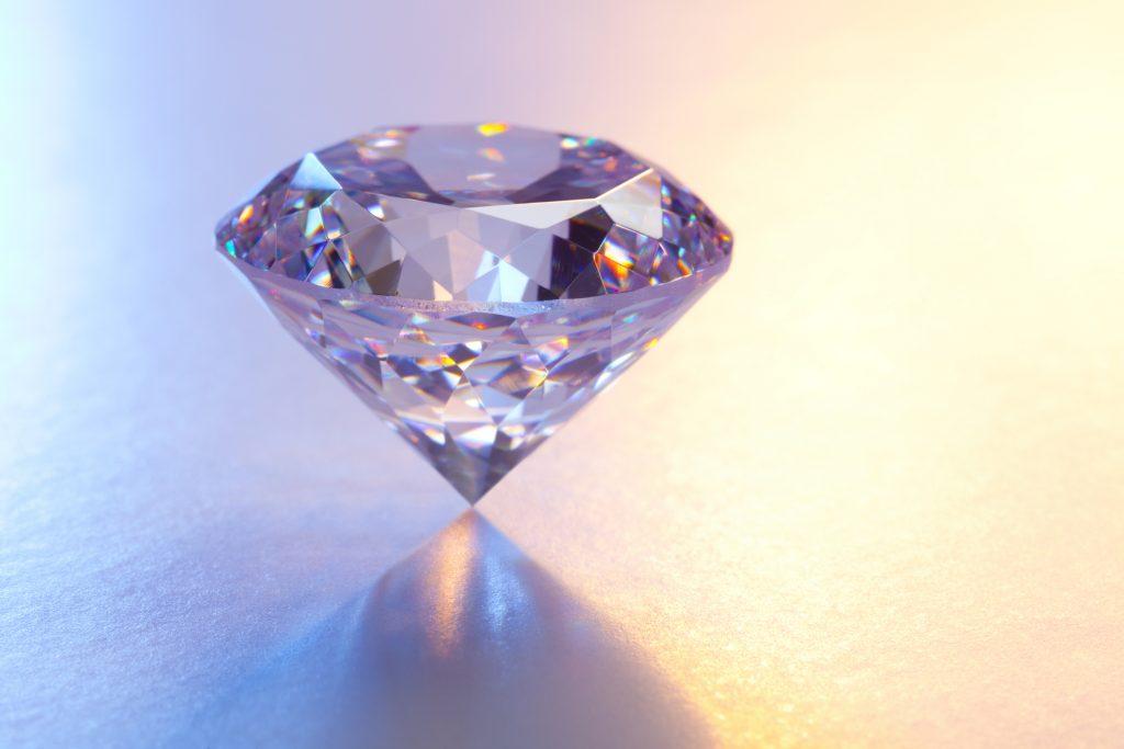 Large Diamond on Reflective Surface