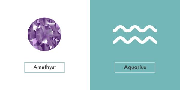 amethyst and aquarius symbol