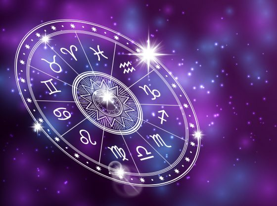 Horoscope circle on shiny backgroung - space backdrop with white astrology circle