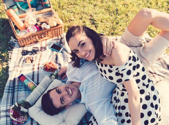 happy couple having a picnic