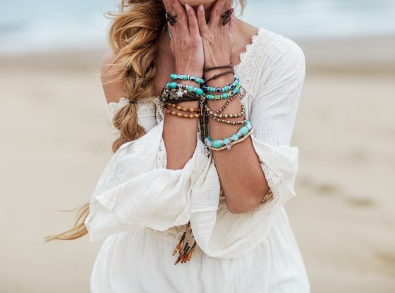 woman with colorful bracelets