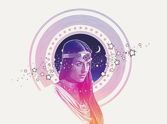 illustration of spirit woman with stars