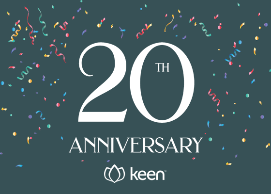 "graphic design with ""20th Anniversary"" text and Keen logo"