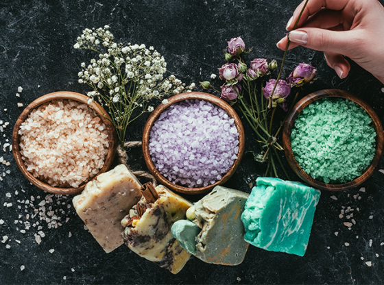 handmade soaps and bath salts with flowers