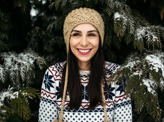 woman with snowy trees