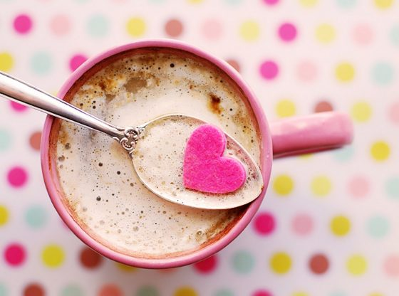 pink heart in coffee