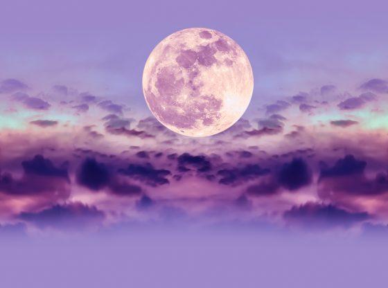 supermoon in purple sky