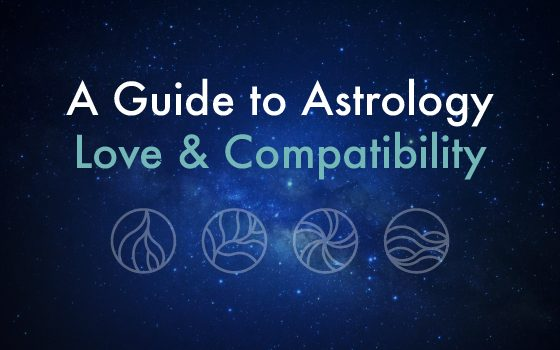 "Text of ""A Guide to Astrology Love & Compatibility"" over stars background"